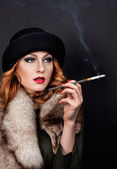 Retro Woman Portrait. Smoking Lady — Stock Photo
