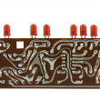 Circuit board with leds. Clipping path included — Stock Photo