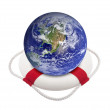 Earth globe in lifebuoy over white — Stock Photo