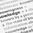 Knowledge definition in a dictionary — Stock Photo