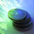 Euro coins on fiber optics background — Stock Photo