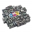 Cmyk made from metal letters — Stock Photo