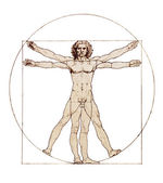 Da Vinci's Vitruvian Man isolated on white — Zdjęcie stockowe