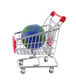 Globe and shopping cart with clipping path — Stock Photo