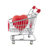 Shopping cart and red heart. Clipping path included. — Stock Photo