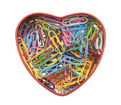 Heart made of paper clips with clipping path — Stock Photo