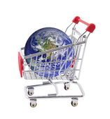 Shopping cart with globe isolated on white — Stock Photo