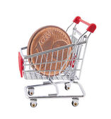 Shopping cart with euro cent coin on white background — Stock Photo