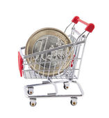 Shopping cart with euro coin on white background — Stock Photo