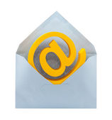 E-mail symbol and envelope with clipping path — Stock Photo