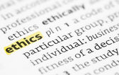 The word ethics highlighted in a dictionary — Stock Photo