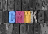 Cmyk made from old letterpress blocks — Stock Photo