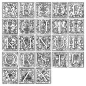 Old decorative alphabet from 16th century — Stock Photo