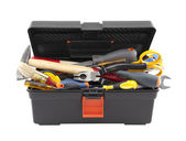 Open black toolbox with tools. Clipping path included. — Stock Photo