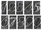 Old metal type numbers isolated on white — Stock Photo