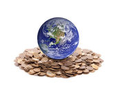 World standing on money. Earth image provided by Nasa — Stock Photo
