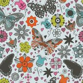 Vector seamless pattern with butterflies and flowers. — Stok Vektör