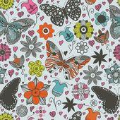 Patrón sin costuras vector con mariposas y flores. — Vector de stock