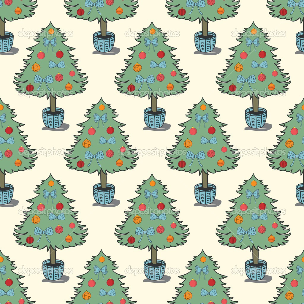 Vintage holiday seamless pattern with christmas tree - vector ...