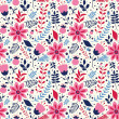 Seamless vector pattern with flowers and leaves — Векторная иллюстрация
