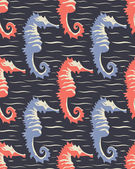 Vector pattern with sea-horses — Vector de stock