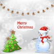 Winter background. Christmas tree and snowman. — Stockvectorbeeld