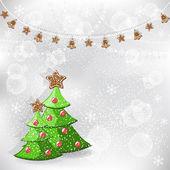 Winter achtergrond. kerstboom. — Stockvector