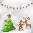 Winter background. Christmas tree and gingerbread. — Stok Vektör