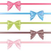 Bow. Set colorful ribbon. — Stock Vector