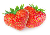 Two heart-shaped strawberries — Stock Photo
