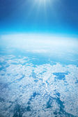 Winter landscape, view from airplane — Stock Photo