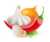 Ají, cebolla y ajo — Foto de Stock