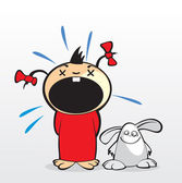 Girl with rabbit — Stock Vector