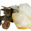 Crystal of quartz and the truck with ore — Stock Photo