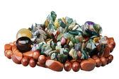 Koraliki z kamieni półszlachetnych kamieni — Zdjęcie stockowe
