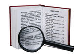 The opened book with a magnifying glass — Stock Photo