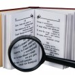 Royalty-Free Stock Photo: The opened book with a magnifying glass