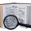 The opened book with a magnifying glass - Stockfoto