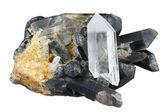 Crystals of black and white quartz — Stock Photo
