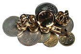 Small Russian coins and hours — Stock Photo