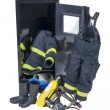Fireman Outfit in Locker - Stock Photo