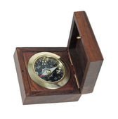 Compass In Wooden Box — Stock Photo