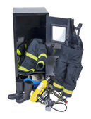 Fireman Outfit in Locker — Stock Photo