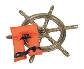 Brass Ship Wheel and Life Vest — Stock Photo