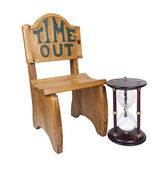 Hour Glass Next to Time Out Chair — Stock Photo