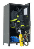 Fireman Gear in a Locker — Stock Photo