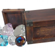 Antique Gems Pour from Wooden Box — Stock Photo #25226991