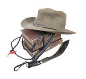 Adventure Books Aussie Hat Whip Dagger — Stock Photo