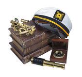 Boating Books Captain Hat Sextant Telescope — Stock Photo