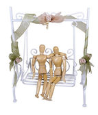 Dating on a White Garden Swing — Stock Photo
